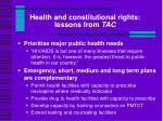 health and constitutional rights lessons from tac