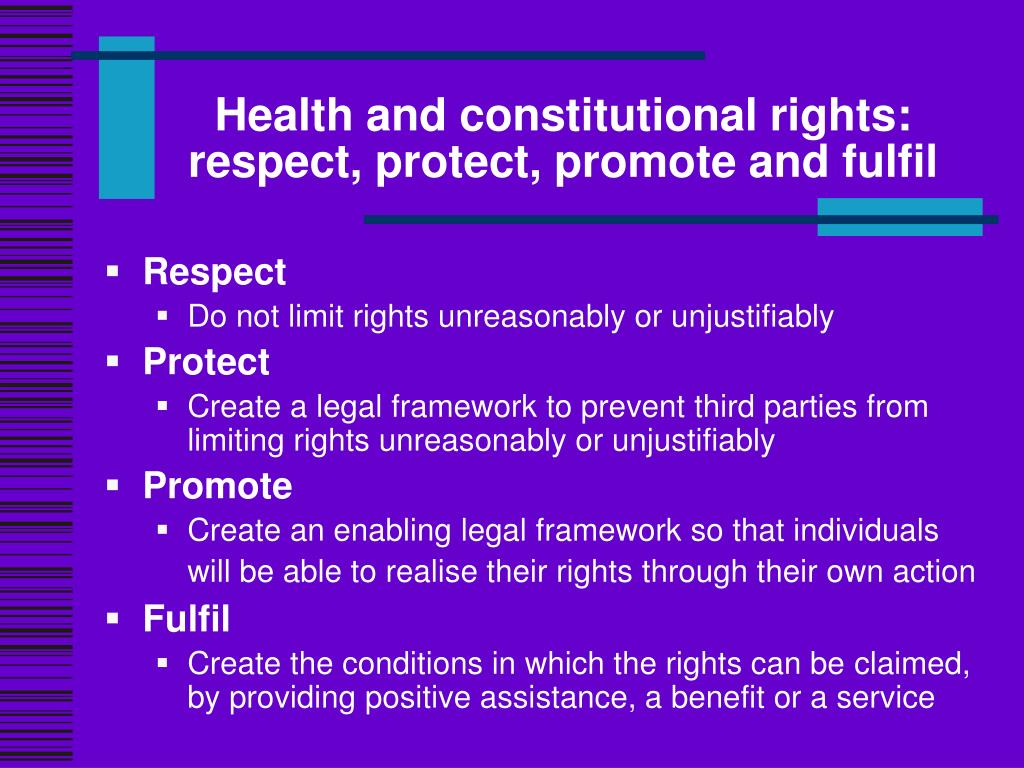 Health and constitutional rights: respect, protect, promote and fulfil