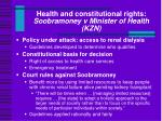 health and constitutional rights soobramoney v minister of health kzn