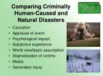 comparing criminally human caused and natural disasters