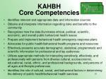 kahbh core competencies