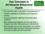 key concepts in all hazards behavioral health
