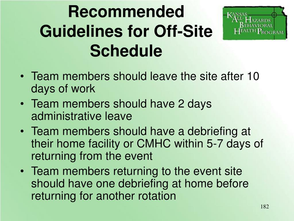 Recommended Guidelines for Off-Site Schedule