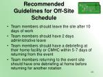 recommended guidelines for off site schedule