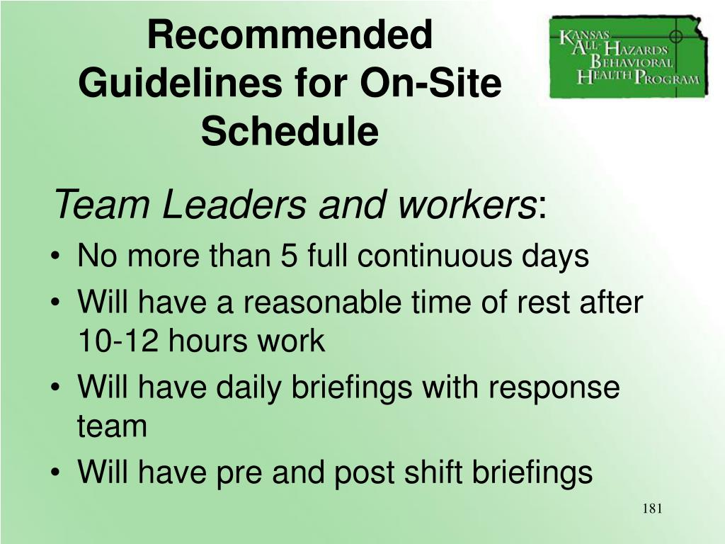 Recommended Guidelines for On-Site Schedule