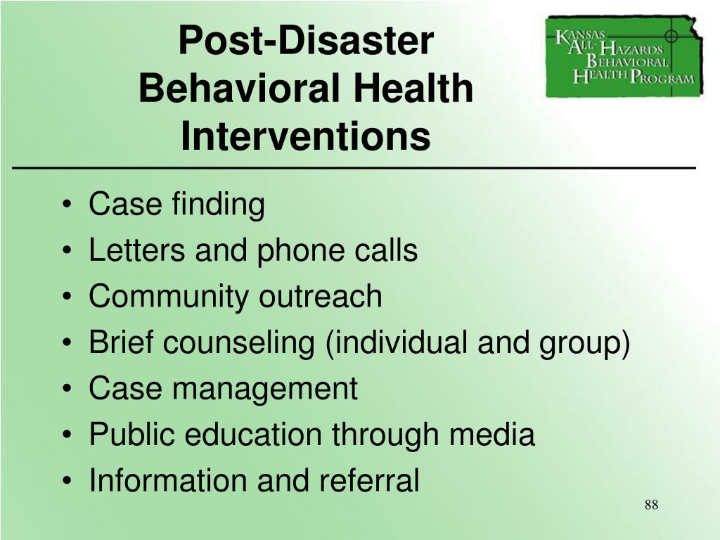 Post-Disaster             Behavioral Health Interventions