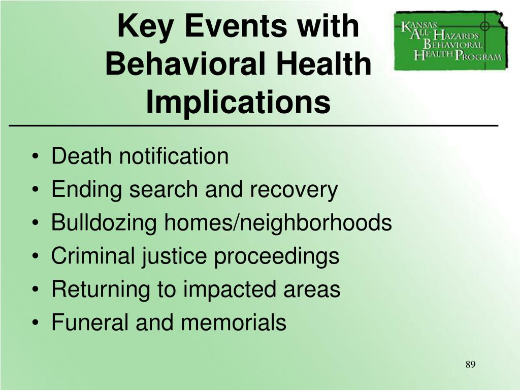 Key Events with    Behavioral Health Implications