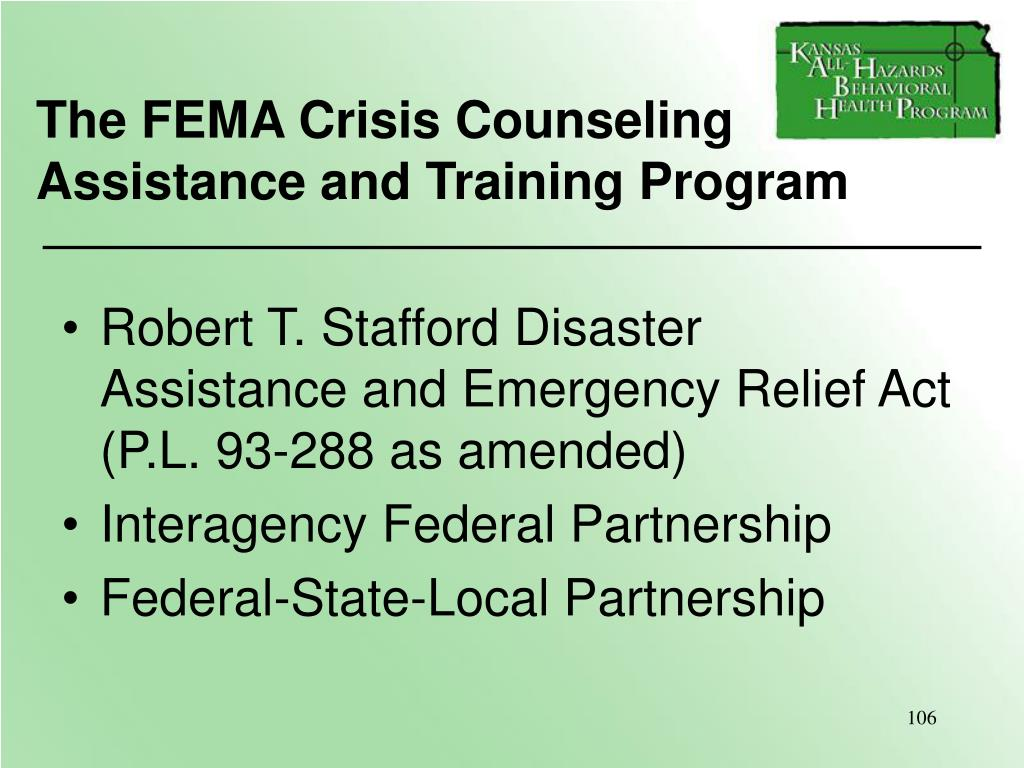 The FEMA Crisis Counseling