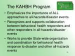 the kahbh program
