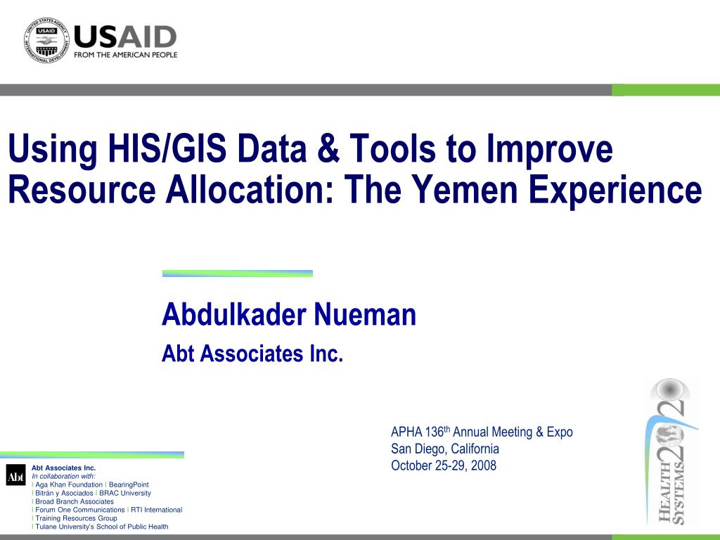 using his gis data tools to improve resource allocation the yemen experience l.