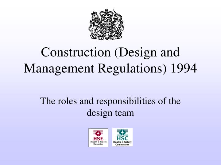 construction design and management regulations 1994 n.