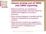 issues arising out of 2005 and 2006 reporting