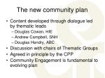 the new community plan