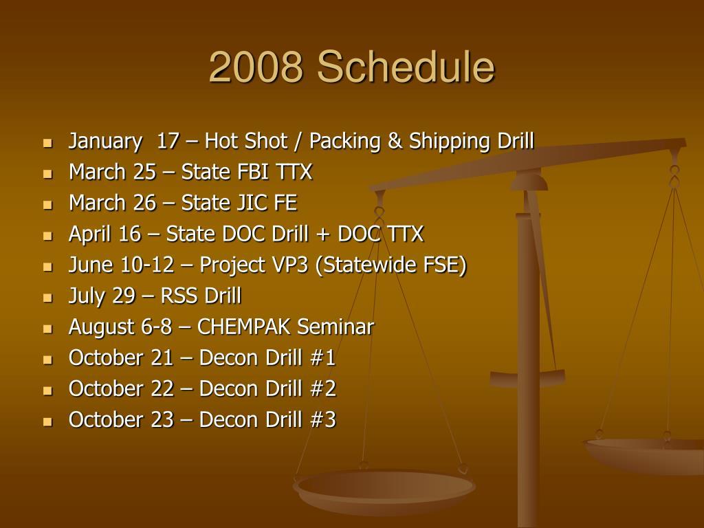 2008 Schedule