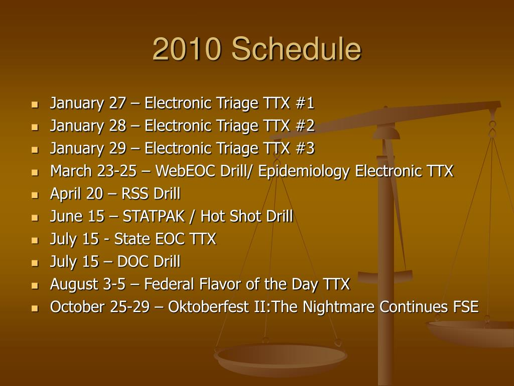 2010 Schedule