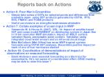 reports back on actions