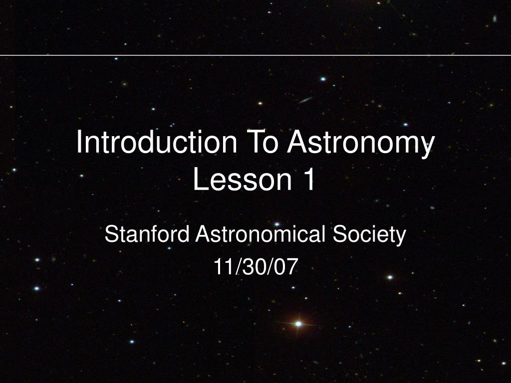 introduction to astronomy lesson 1