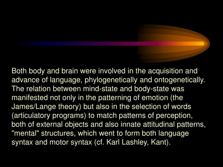 Both body and brain were involved in the acquisition and advance of language, phylogenetically and o...