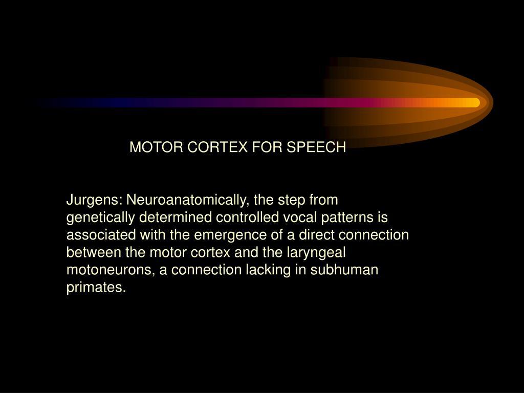 MOTOR CORTEX FOR SPEECH
