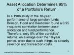 asset allocation determines 95 of a portfolio s return