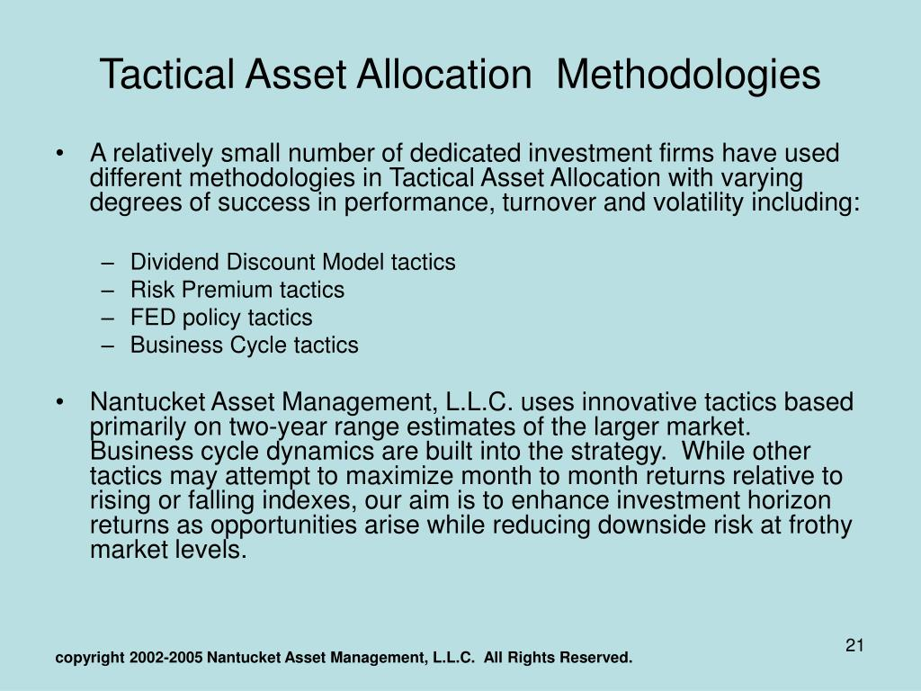 PPT - Tactical Asset Allocation and Sector Rotation PowerPoint
