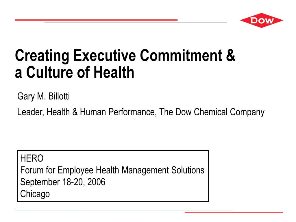 creating executive commitment a culture of health l.