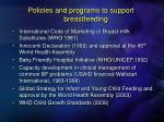 policies and programs to support breastfeeding
