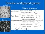 dynamics of dispersed systems