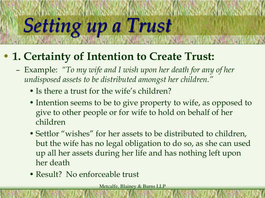 Setting up a Trust