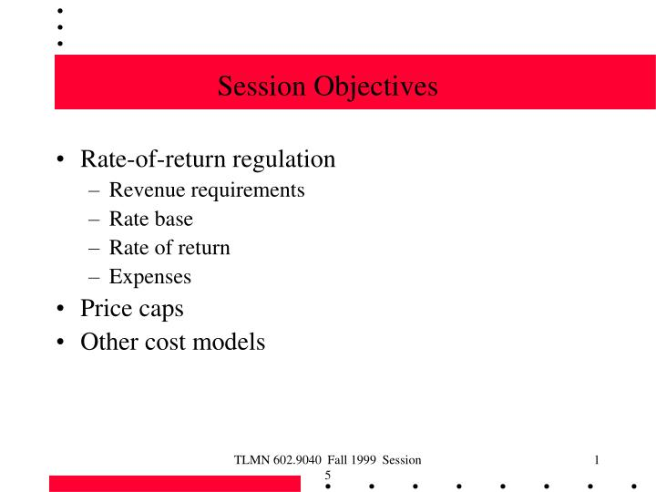 session objectives n.