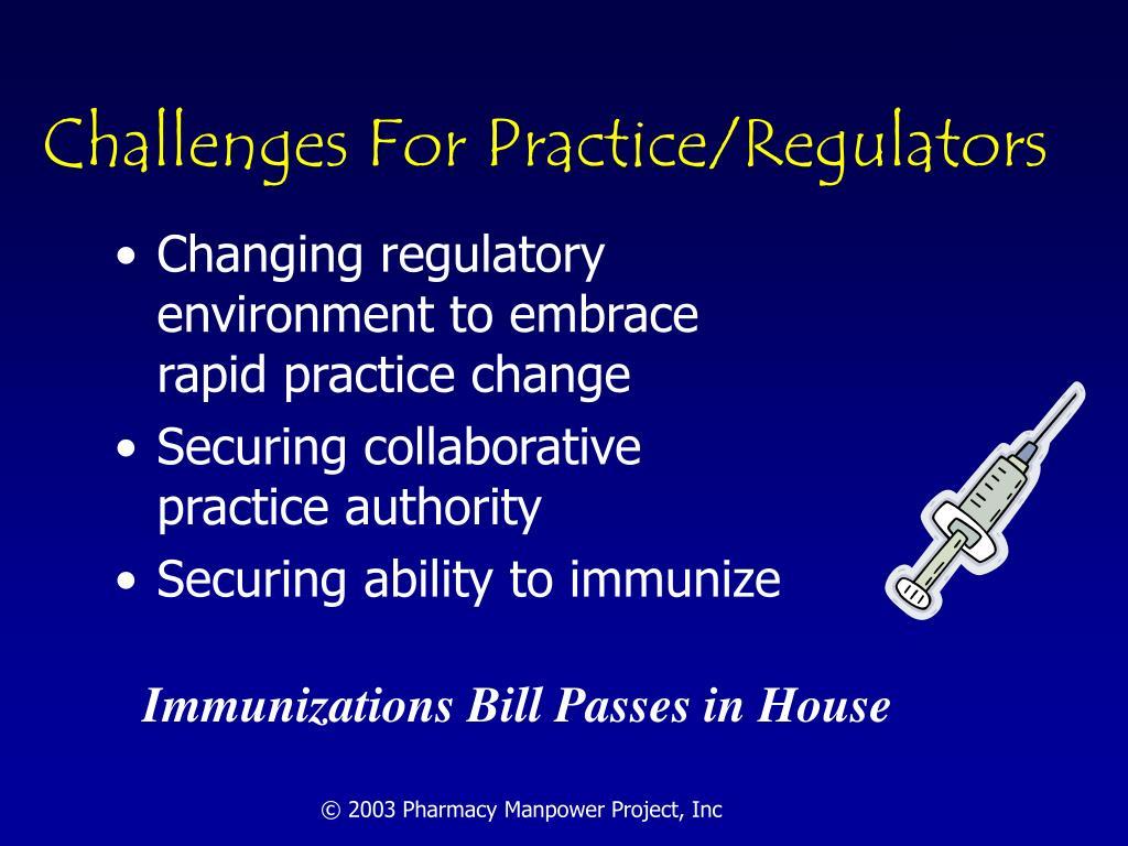 Challenges For Practice/Regulators