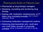 pharmacists roles in patient care