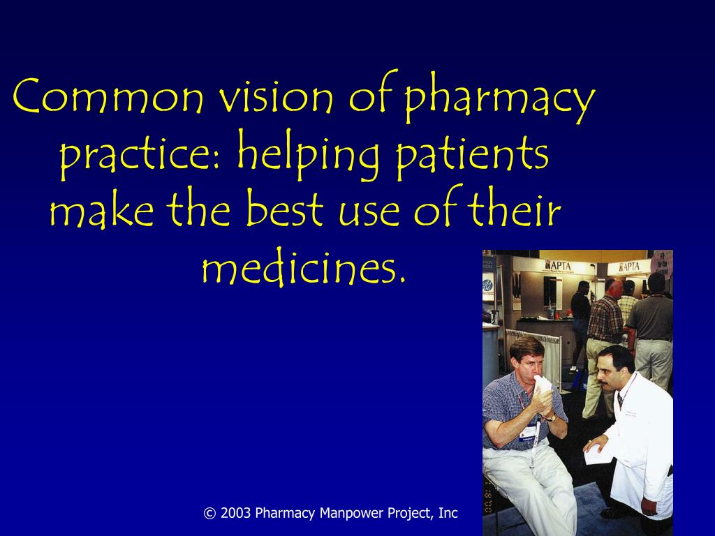 Common vision of pharmacy practice: helping patients make the best use of their medicines.
