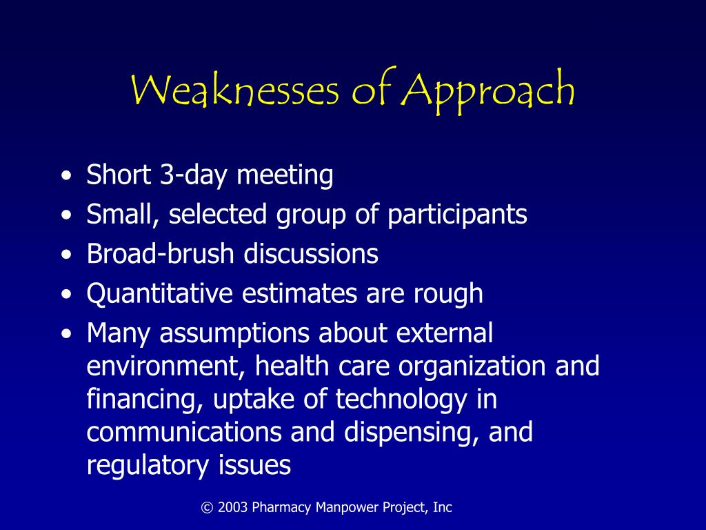Weaknesses of Approach