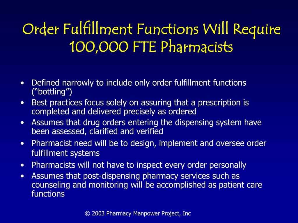 Order Fulfillment Functions Will Require 100,000 FTE Pharmacists