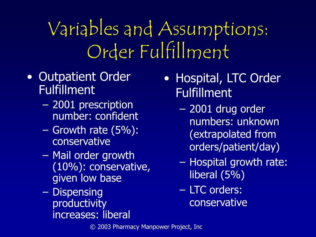 Variables and Assumptions: Order Fulfillment