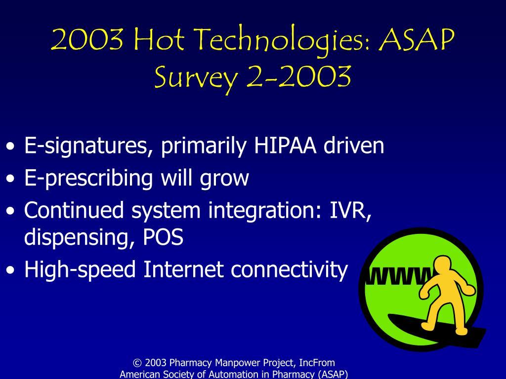 2003 Hot Technologies: ASAP Survey 2-2003