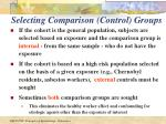 selecting comparison control groups