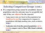 selecting comparison groups cont