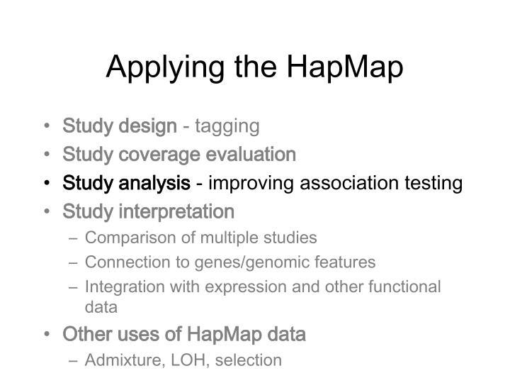 Applying the HapMap