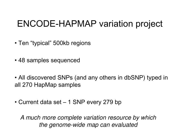 ENCODE-HAPMAP variation project