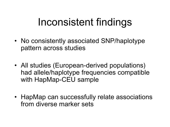 Inconsistent findings