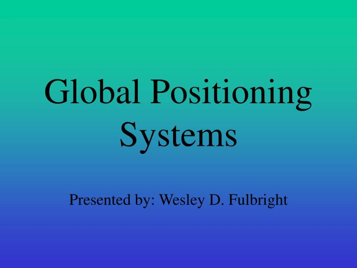 global positioning systems n.