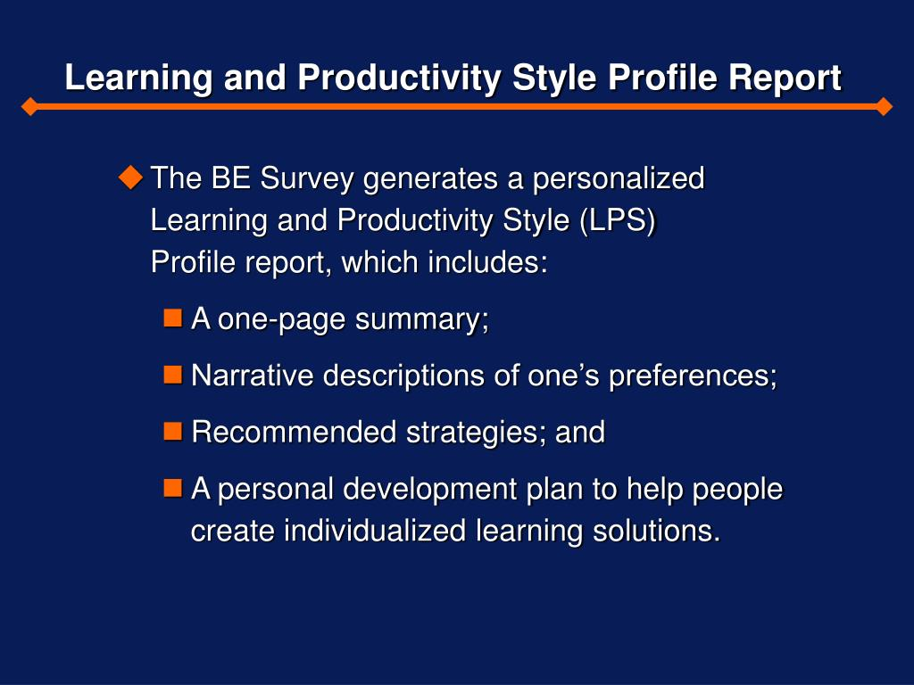 Learning and Productivity Style Profile Report