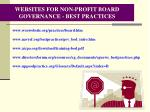 websites for non profit board governance best practices