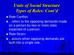 units of social structure types of roles cont d17