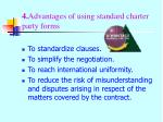 4 advantages of using standard charter party forms