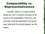 comparability vs representativeness