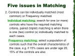 five issues in matching13