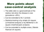 more points about case control analysis